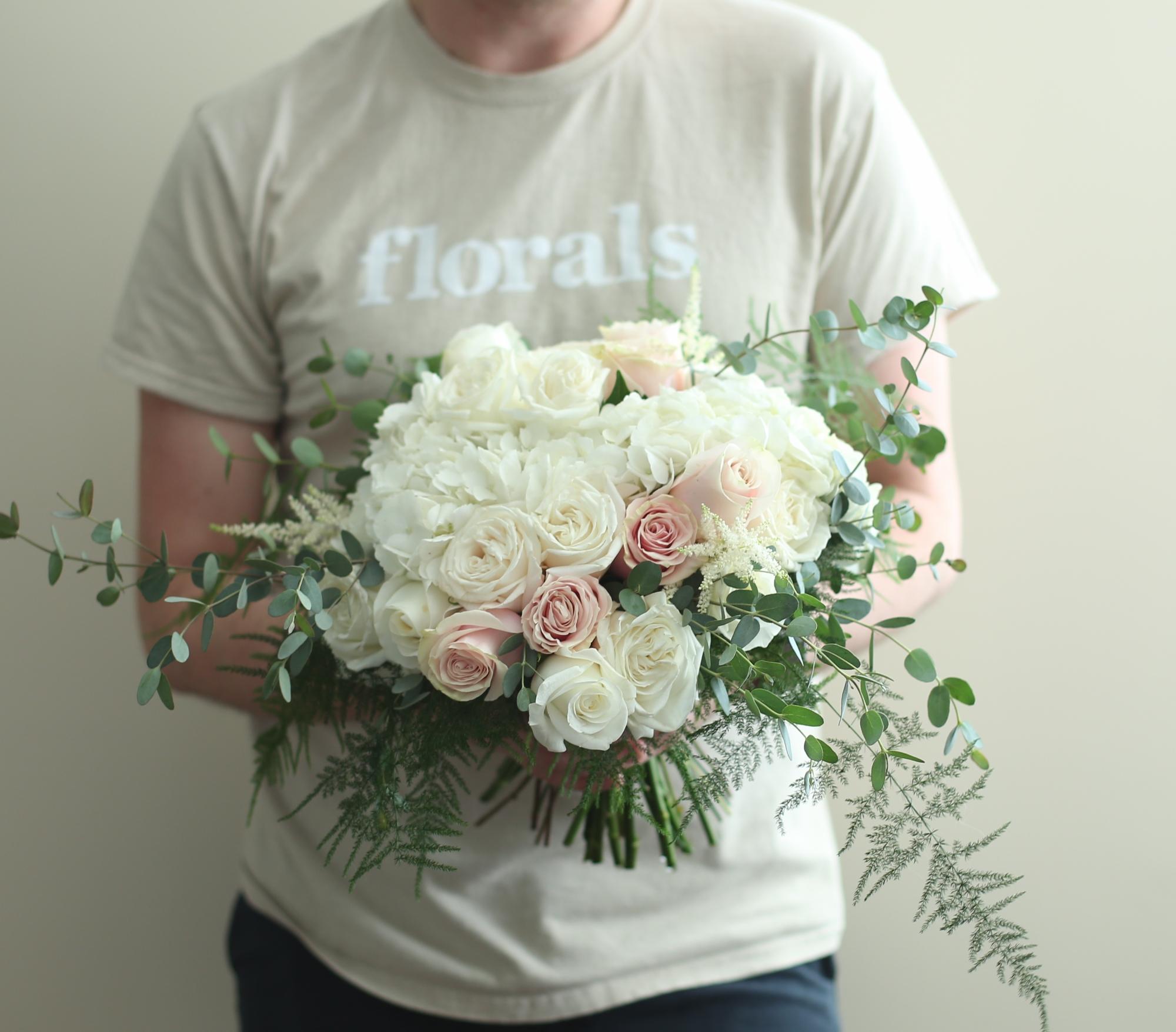 Faulks Floral Co classic bridal bouquet design.