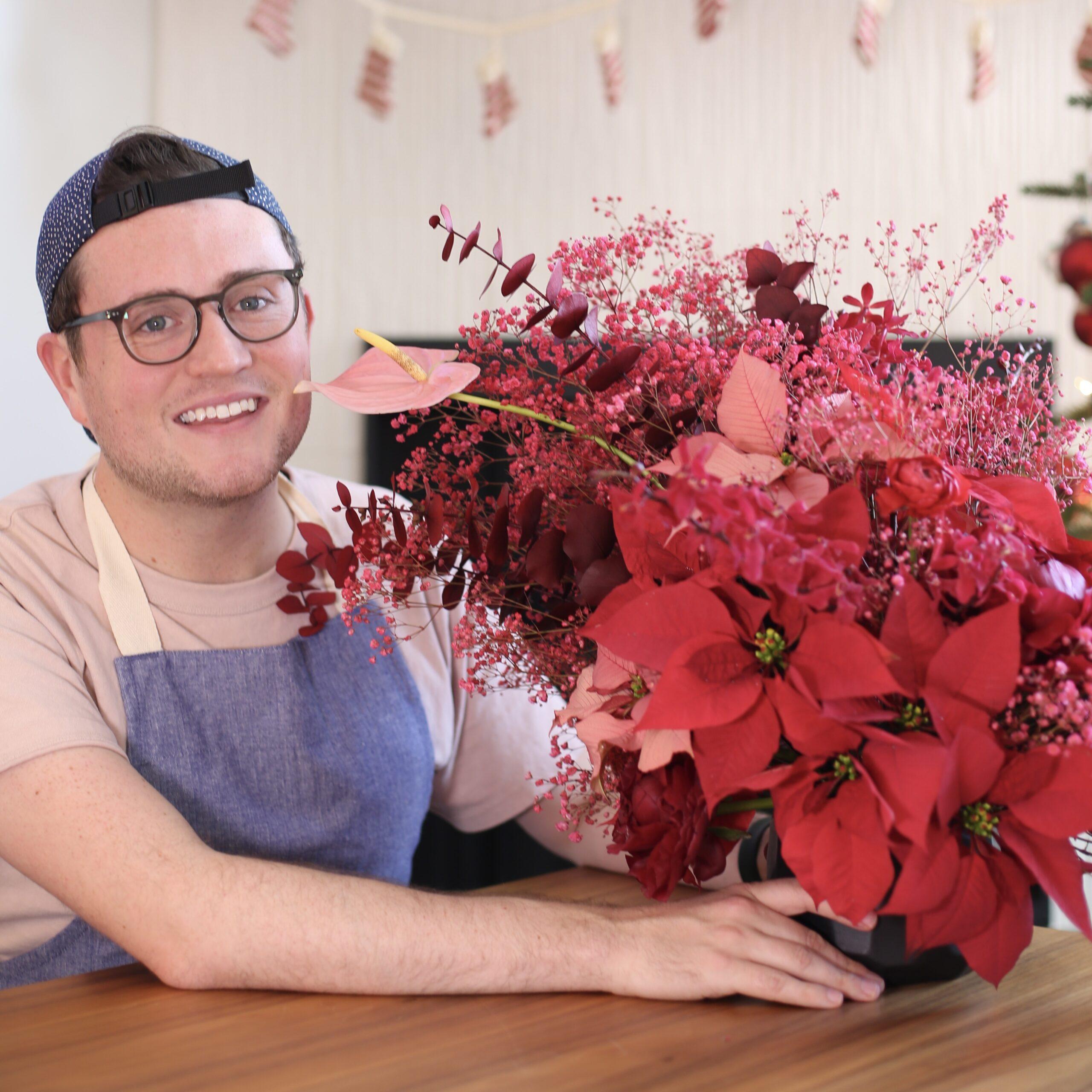 Jonathan with his custom Christmas arrangement.