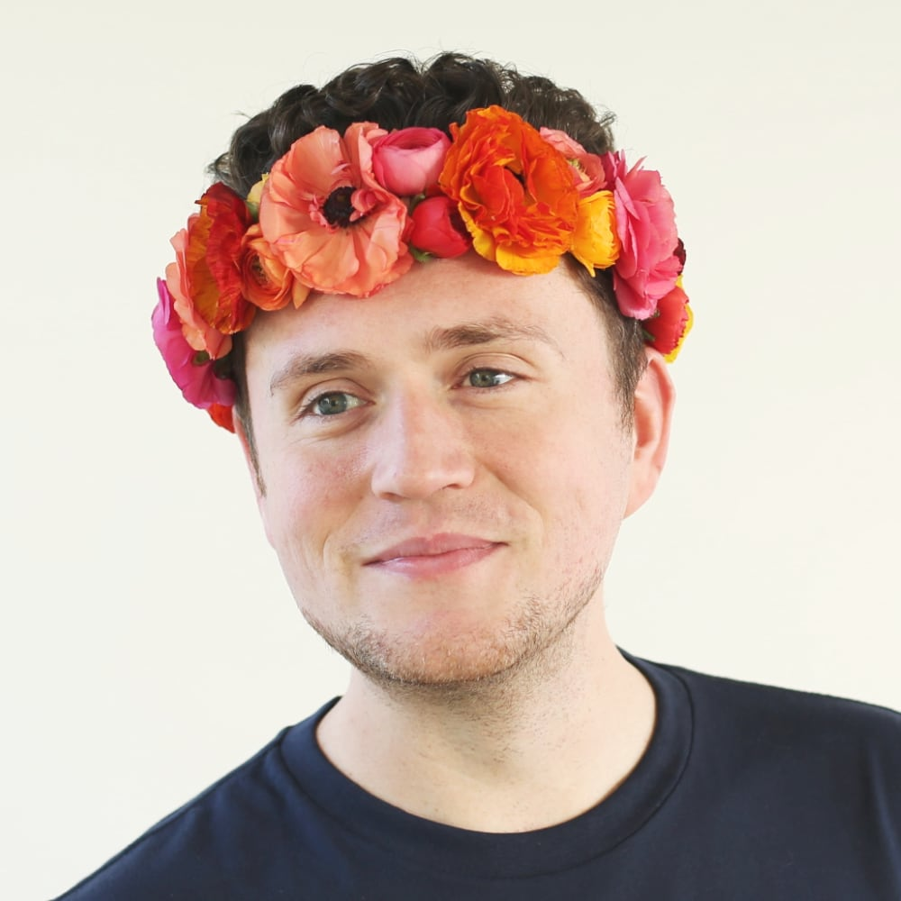 Jonathan Faulks wearing our classic floral crown.