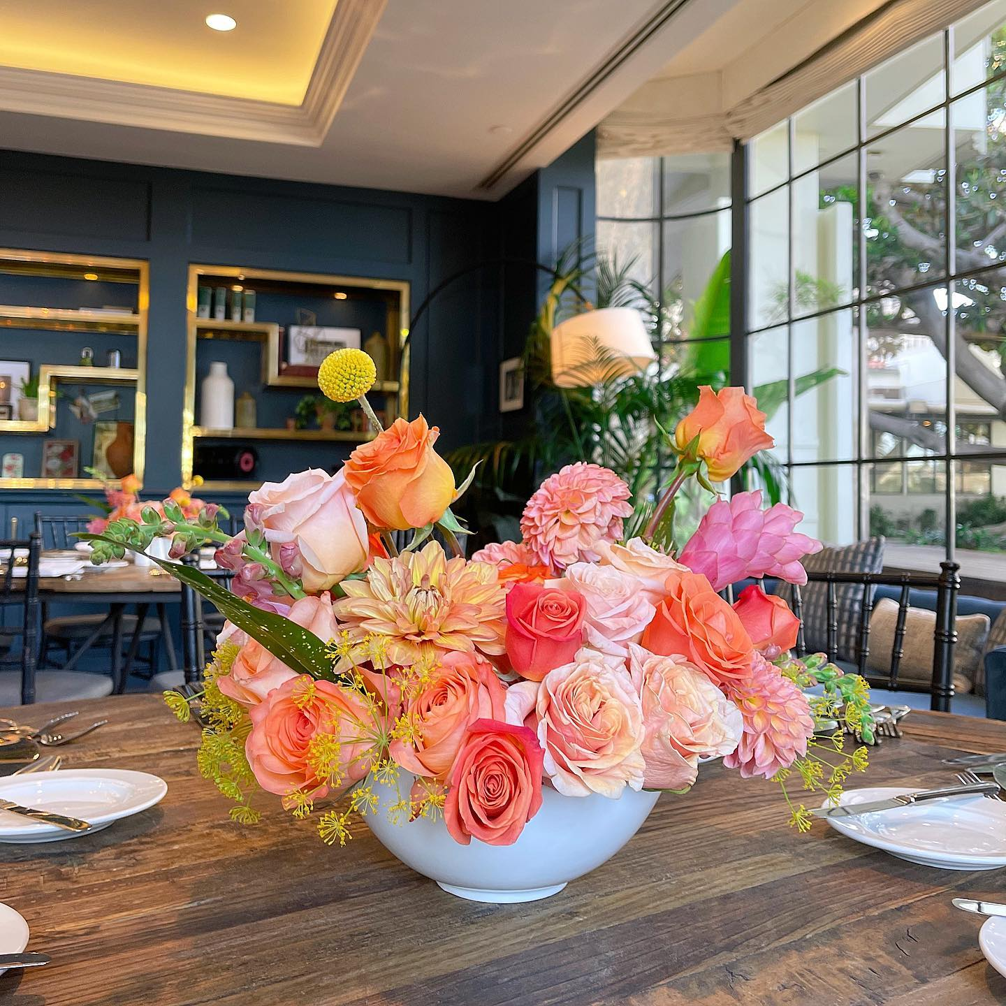 Table Arrangements for a private event at the Fairmont Miramar in Santa Monica, Ca